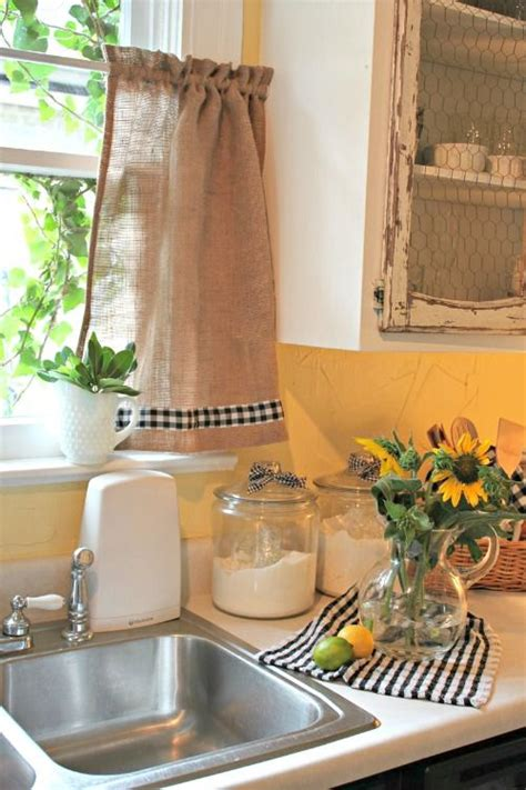 White Kitchen Curtains With Black Trim by I Like The Burlap With The Black And White Checkered Trim