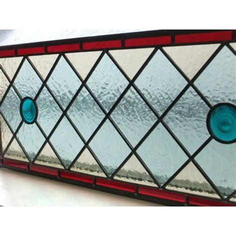 Fireplace Tiles Ideas by 039 Hand Made Stained Glass Overhead Panel Simple Mid Blue