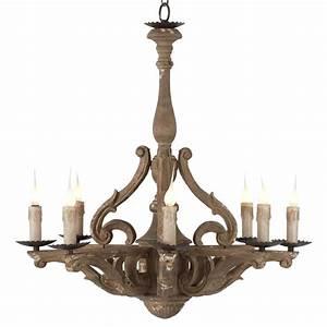 Castille rustic carved wood european light chandelier