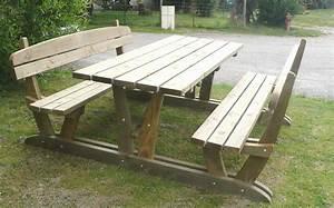 Table Exterieur En Bois : table jardin avec banc ~ Teatrodelosmanantiales.com Idées de Décoration