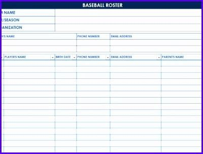 T Lineup Template by 8 Baseball Lineup Excel Template Exceltemplates