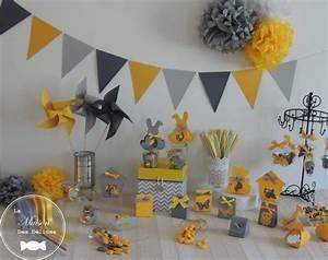 Moulin A Vent Deco Bapteme : deco bapteme garcon jaune et gris ~ Melissatoandfro.com Idées de Décoration