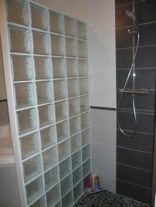 brique verre douche italienne des idees novatrices sur With carrelage adhesif salle de bain avec pavé de verre led