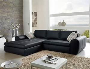 Kunstleder Couch Schwarz : wohnlandschaft schlafsofa cassia 290x213cm kunstleder schwarz wohnbereiche wohnzimmer sofa ~ Indierocktalk.com Haus und Dekorationen