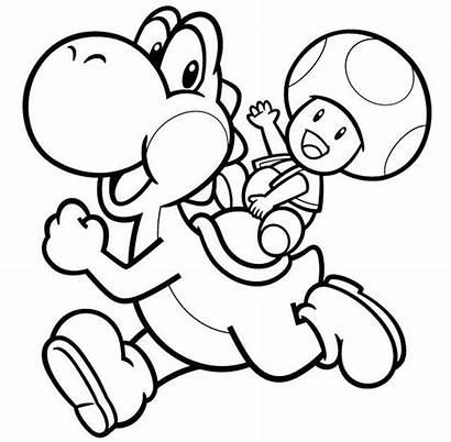 Yoshi Mario Coloring Bros Toad Luigi Colorir