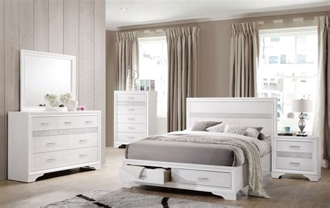 miranda white storage platform bedroom set coaster