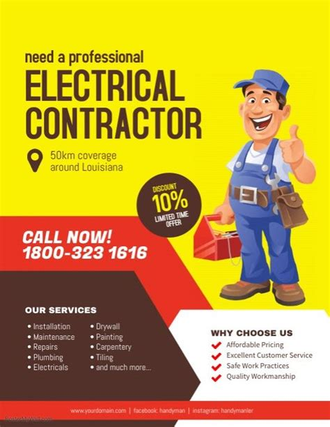 electrical contractor services flyer poster business