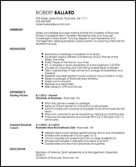 Baseball Coach Resume by Free Entry Level Sports Coach Resume Template Resumenow