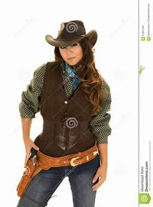 Cowgirl With Gun And Holster Hand On Gun Stock Image ...