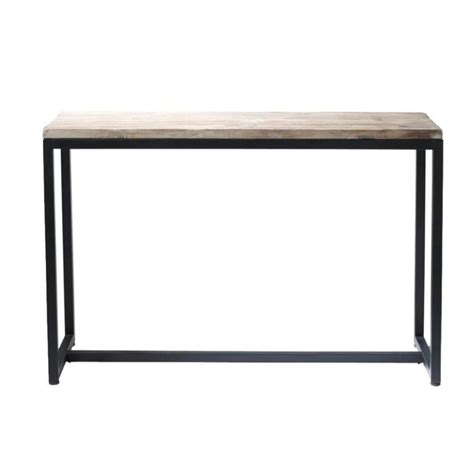 table console indus en sapin massif blanchi  metal long island maisons du monde