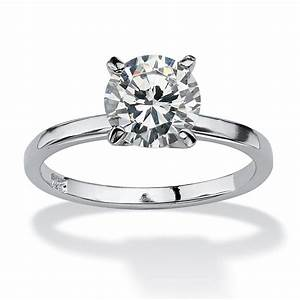 2 TCW Round Cubic Zirconia Solitaire Engagement ...