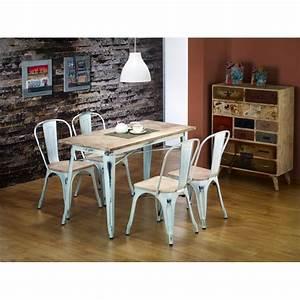 Table A Manger Blanc Et Bois : table manger industrielle en bois et acier blanc atout mobilier ~ Teatrodelosmanantiales.com Idées de Décoration