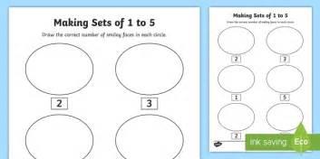 junior infants making sets of 1 to 5 worksheet activity sheet maths