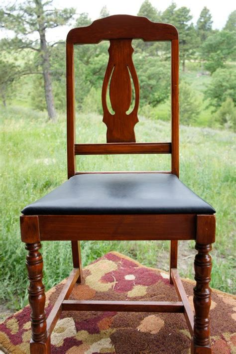 wood upholstered dining chair decorative  black vinyl