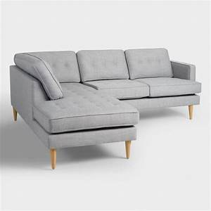 Dove gray woven apel sectional sofa with chaise world market for Dove grey sectional sofa