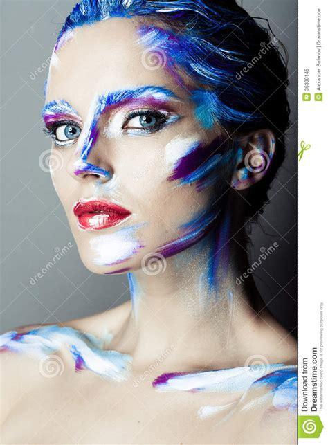 creative art makeup   young girl  blue eyes royalty