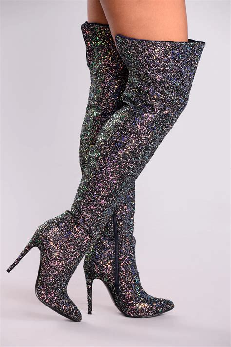 Just Add Glitter Over The Knee Boot Black
