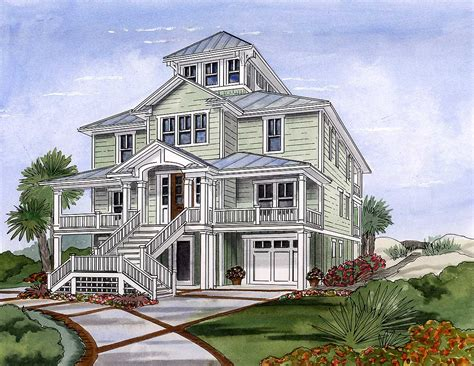 Beach House Plan with Cupola 15033NC Architectural