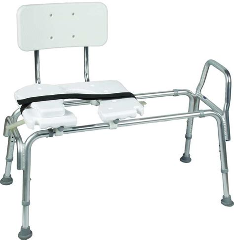heavy duty sliding transfer bench w cut out seat