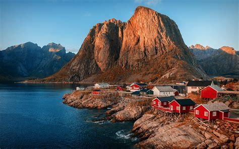 fonds decran norvege fjord montagnes lac ville
