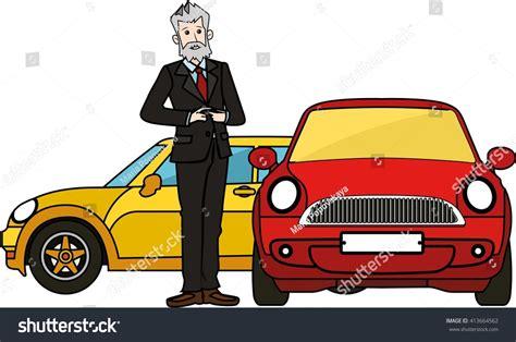 Boss Senior Man Standing By Luxury Cars Stock Vector