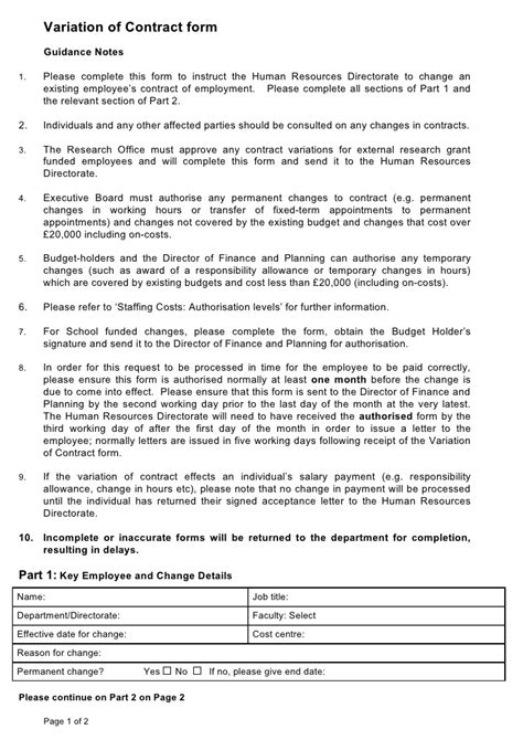 change of working hours letter template for contracts nz variation of contract form