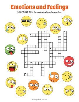 feelings  emotions crossword puzzle  images