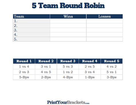 team  robin printable tournament bracket