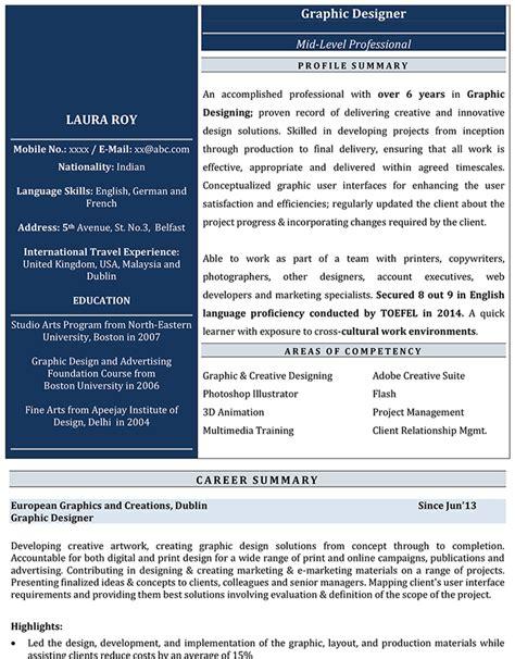 graphic designer cv format graphic designer resume