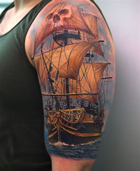 Ship Tattoo by Pirate Ship Tattoos Designs Ideas And Meaning Tattoos
