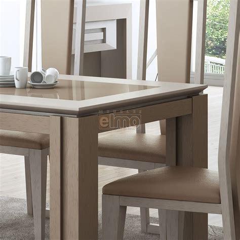 ensemble table chaises cuisine table salle à manger contemporaine chêne naturel verre