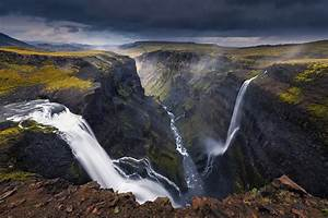 Landscape, Nature, Waterfall, Canyon, River, Dark, Clouds, Iceland, Wallpapers, Hd, Desktop, And