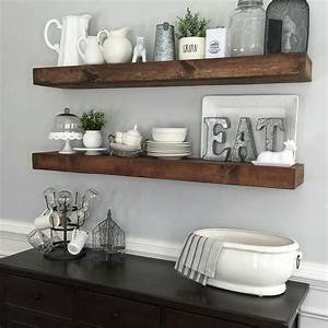 shanty2chic dining room floating shelves by myneutralnest With kitchen cabinets lowes with wall art ideas living room