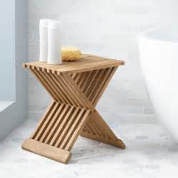 Folding Teak Shower Seat by Plastic Shower Seat Signature Hardware