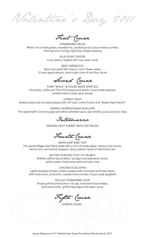 5 course meal ideas for 2 special valentine s day menu at aspire 2 11 to 2 14