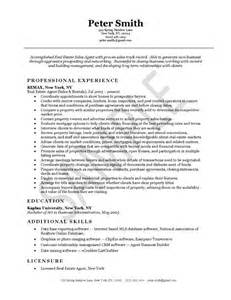 real estate description for resume real estate agents resume exles and estate agents on