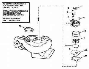 Johnson Jet Drive Unit Parts For 1998 50hp J50dtleca
