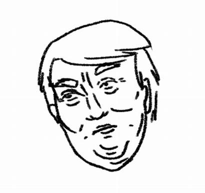 Trump Drawing Line Donald Gifs Clipartmag Running