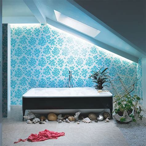 aqua blue bathroom  coral wallpaper spa style