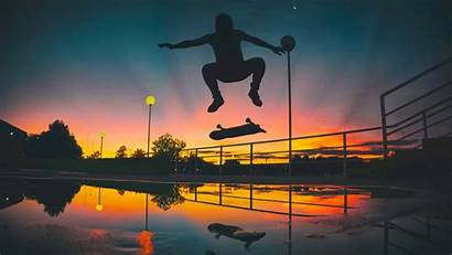 Skate Sunset Silhouette Skateboarding Skater Wallpapers Skating