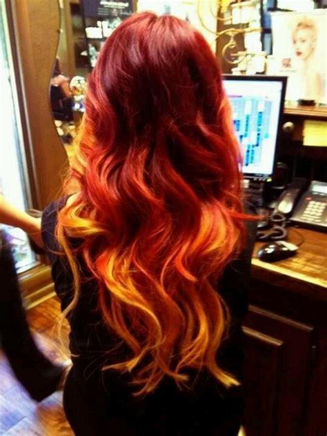 Ombre Red Orange Hair Long Curls Hair Pinterest My