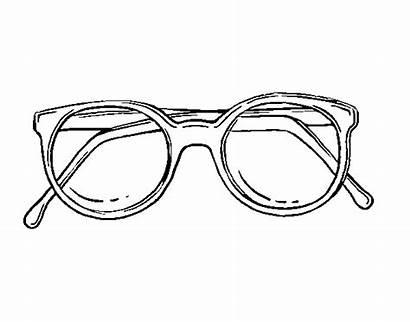 Glasses Coloring Dough Round Colorear Coloringcrew