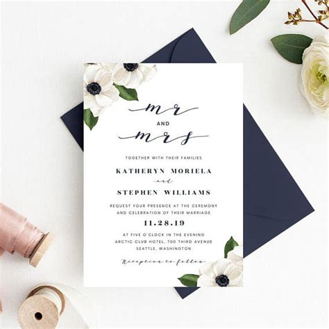 wedding invitation printable floral wedding