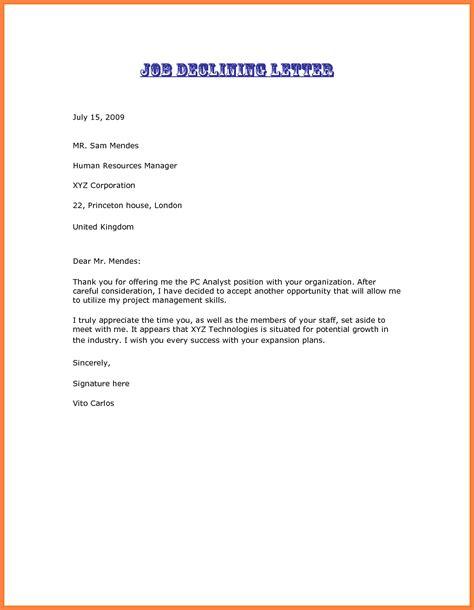decline job offer letter marital settlements information