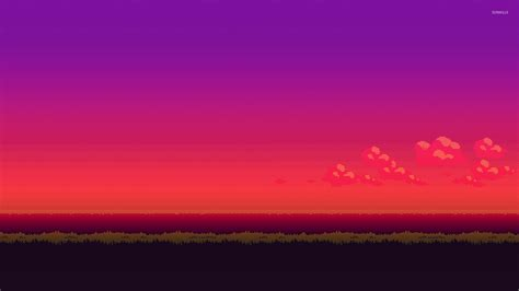 8 Bit Background 8 Bit Purple Sunset Wallpaper Digital Wallpapers