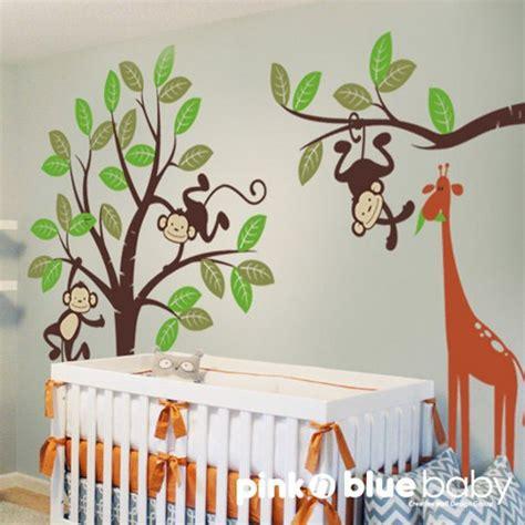 monkey and giraffe nursery wall decal