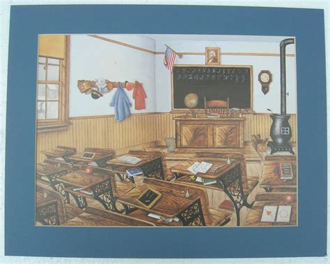 Home Interior Ebay by Time School Room Matted Country Picture Print Interior