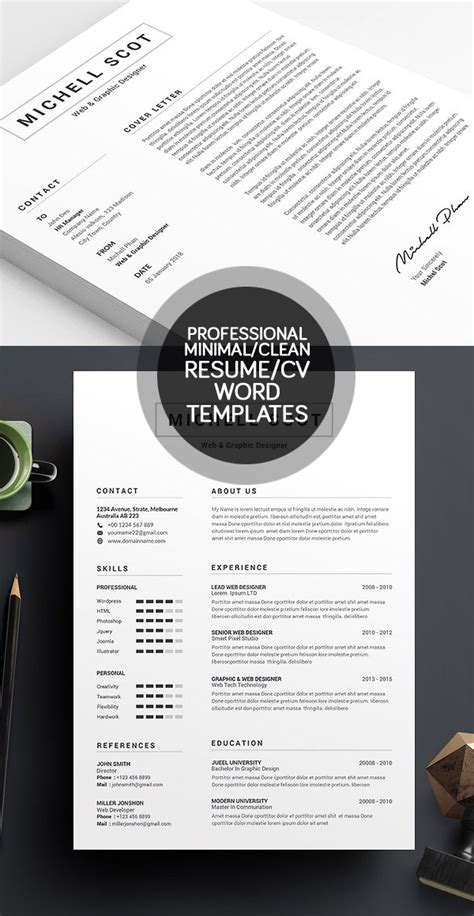 50 words to use on your resume 50 best minimal resume templates idevie