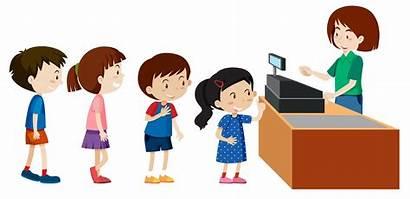 Cashier Buying Children Vector Illustration Clipart Supermarket