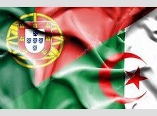 Waving flag of Algeria and Portugal — Stock Photo
